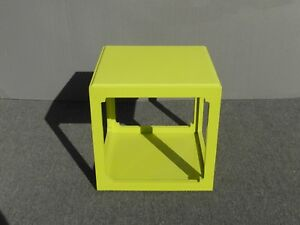 Vintage Contemporary Style Square Lime Green Plastic Two Tier End Table