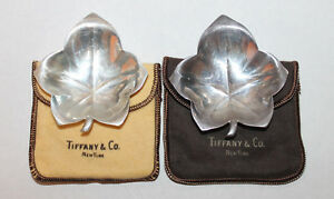Pair Of Vintage Tiffany Co Sterling Silver Leaf Dishes W Pouches