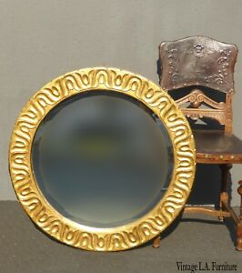 Vintage French Spanish Style Gold Ornate Wood Wall Mantle Mirror Made In Mexico