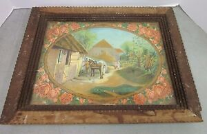 Tramp Art Wood Frame Layered Framed Picture Farm Unique Antique Horse Painting