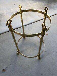Vintage Brass Swan Heads Side Table
