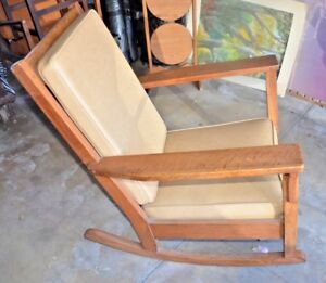 Antique Mission Oak Rocker Stickley Era Arts Crafts Rocking Chair