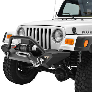 Fits 87 06 Jeep Wrangler Tj Yj Front Bumper W Winch Plate D Rings Black Textured