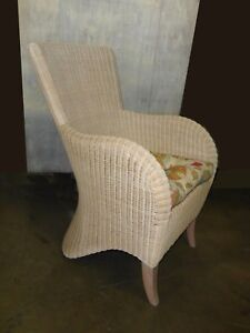 White French Country Cottage Beige Rattan Accent Chair With Cushion