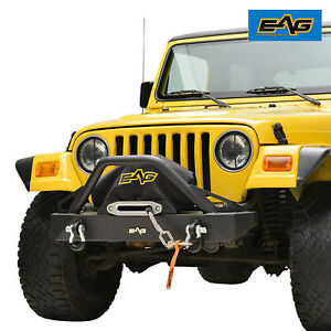 Fits 87 06 Jeep Wrangler Tj yj Front Bumper With D rings Rock Crawler Black
