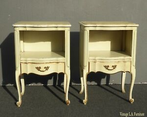 Pair Of Vintage French Provincial Yellow Creme Nightstands Finish As Is