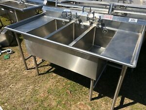 Win holt Stainless Steel 74 X 36 5 Commercial 3 Compartment Wash Kitchen Sink