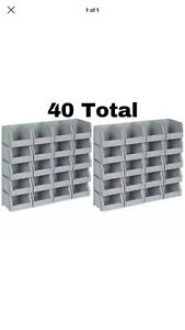 40 Bins Rail Mount Poly Stackable Parts Nuts Bolts Screws Storage Nail Organizer