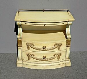 Vintage Karges French Provincial Carved Cream Gold Gilt Nightstand End Table