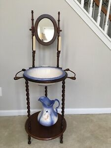 Vintage Antique Wash Basin Bowl Stand Solid Wood Ironstone Pitcher