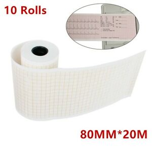 10 Rolls 80mmx20m Thermal Print Paper For 3 channel Ecg ekg Electrocardiograph