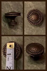 Knob Round Copper Gothic Cabinet Drawer Heavy Texture Indent Stamped Vintage