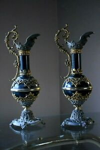 2 Antique Victorian 19th C Mantel Ewers Urns Black Gold Gray 16 H