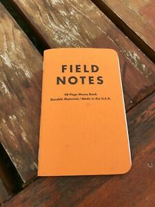 Field Notes Butcher Orange Limited Edition Single Book Rare
