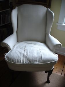 Vintage Queen Ann Style Wing Back Chair