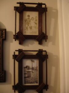 Pair Of Antique Adirondack Style Carved Wood Frames