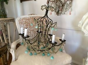 Omg Antique Vtg Old Pie Crust Macaroni Beaded Swag Chandelier Lamp Murano Drops