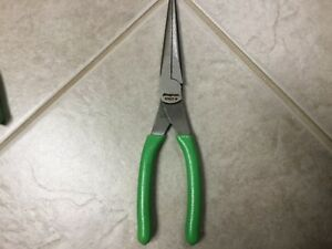 Snap On Tools Plier Green Long Nose Talon Grip Serrated Jaws New Green Snap On
