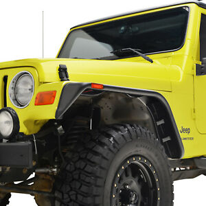 Fit 97 06 Jeep Wrangler Tj 4pcs Flat Style Abs With Side Led Fender Flares