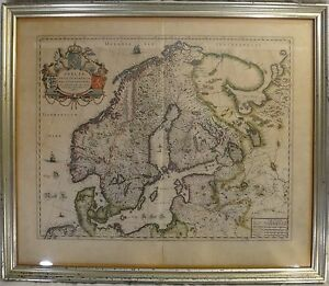 Original Lg Old World Map Of Sweden Denmark Norway C Mid 17th C Anders Bure