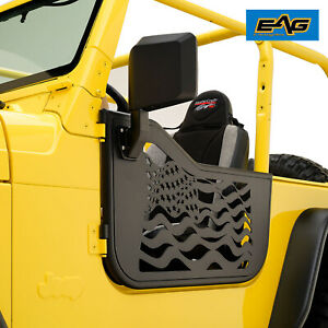 Eag Us Flag Tubular Door With Side View Mirror Fit For 97 06 Jeep Wrangler Tj