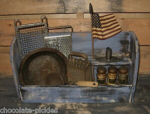 Wood Cubby Shelf Box Blue Spice Rack Primitive French Country Farmhouse Decor