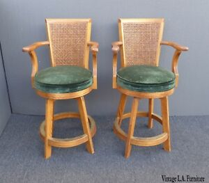 Pair Vintage Mid Century Modern Cane Back Oak Green Velvet Counter Bar Stools