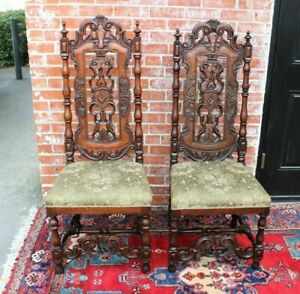 French Antique Dark Oak Renaissance Pair Of Side Chairs W Light Green Upholstery