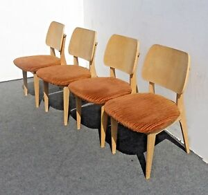 Vintage Mid Century Danish Modern Set Of Four Orange Velvet Side Chairs