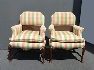 Pair Of Unique Vintage French Country Cottage Half Cane Back Accent Arm Chairs