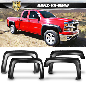 Fits 14 18 Chevy Silverado 1500 Long Bed Pocket Rivet Fender Flares 4pcs Set