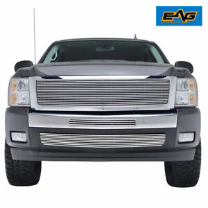 Fit For 2007 2013 Chevy Silverado 1500 Chrome Aluninum Billet Grille Shell