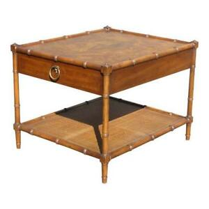 Vintage Faux Bamboo Burl Wood Cane Single Drawer End Table Drexel Heritage