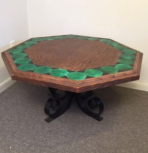 Vintage Octagon California Tile Top Wrought Iron Coffee Table Pick Up Houston