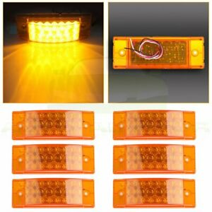 6 Amber 20 Led Rectangle Tail Stop Marker Light For Trailer Truck Rv 3 Wires