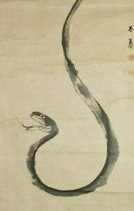 Snake Japanese Painting Hanging Scroll Japan Picture Asian Vintage Old Ink C666