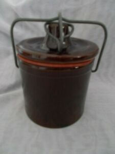 Brown Glaze Cheese Butter Crock Jar W Locking Wire Bail Lid With Gasket
