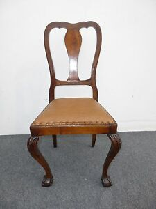 Vintage Accent Chair Ball Claw Feet Burl Wood Brown Leather Decorative Nail