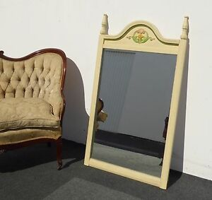 Vintage French Country Off White Floral Crest Wall Mantle Mirror Chic Shabby