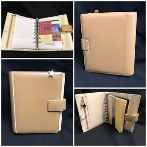 Franklin Covey Beige Full Grain Leather Binder 7 Ring Organizer Magnetic Closure