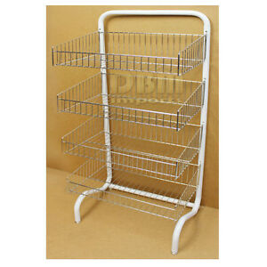 Floor Stand 4 Tier Wire Dump Bin Basket Retail Display Merchandise Stor