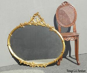 Vintage French Provincial Gold Gilt Floral Ornate Scrolls Flourishes Wall Mirror