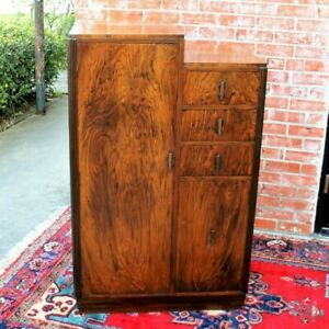 Antique Burl Walnut Art Deco Small Cabinet 8 Shelf 3 Drawer Dresser Chest