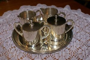 Towle Silver Plate 5 Piece Set 2 Creamers 2 Covered Sugar Tray