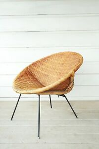 Vtg Mid Century Modern Califasia Wicker Rattan Iron Hoop Lounge Chair Aubock Era