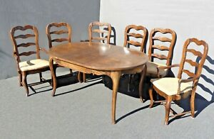 Vintage French Country Carved Oak Wood Dining Table Six Ladder Back Chairs
