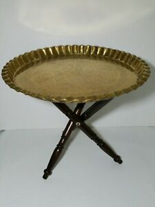 Vtg Brass Tray Top Table W Folding Wood Legs Moroccan Indian Middle East Style
