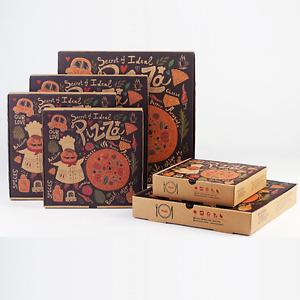 100x 12 Pizza Box Take Away Fast Food Brown Printed Corrugated Recycled Boxes