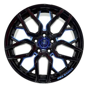 4 Gwg Nigma 18 Inch Black Blue Mill Rims Fits Acura Integra Type R 2000 2001