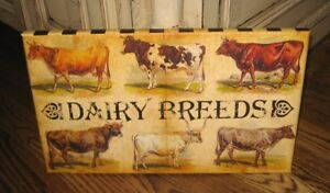 Dairy Cow Breeds Canvas Picture Farmhouse Primitive French Country Urban Decor